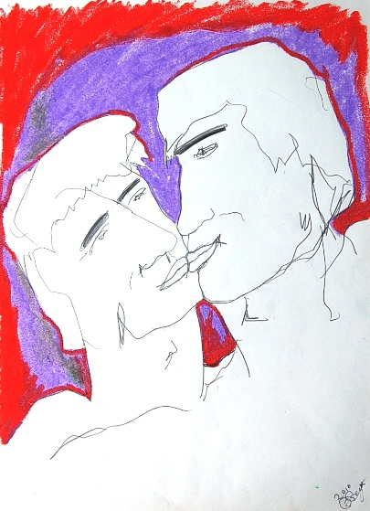 male nudes drawings kiss me purple.jpg